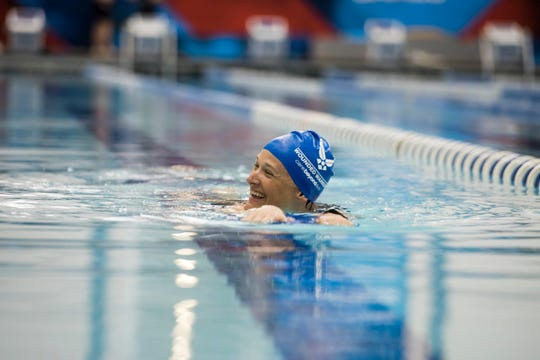 Master Sgt. Lisa Goad, Warrior Games athlete, swims during a Team Air Force swim practice at the U.S. Air Force Academy in Colorado Springs, Colo. on June 7, 2018. Goad is one of the 40 veterans and service members who competed for Team Air Force in the 2018 Department of Defense Warrior Games.