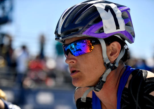 Team Air Force athlete Master Sgt. Lisa Goad, participates in the Department of Defense Warrior Games at the U.S. Air Force Academy in Colorado Springs, Colorado, June 2, 2018. Track and field is one of 11 sports Warrior Games athletes may compete in; other events include archery, cycling, shooting, sitting volleyball, swimming, and wheelchair basketball, and for the first time in Warrior Games history, indoor rowing, powerlifting, and time-trial cycling.