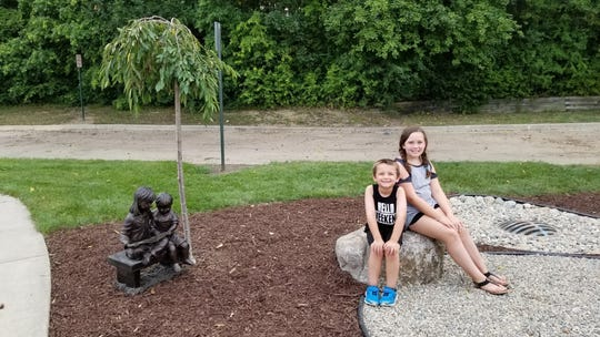 Max and Addie Bertin, both students at Parkview Elementary School, love the new outdoor learning center.