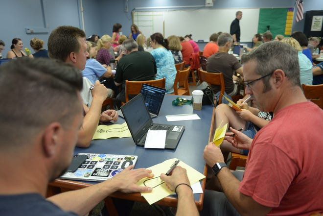 Teachers fill in an exclamation point with ideas on something new they want to try during the last school year at Harrison High School.