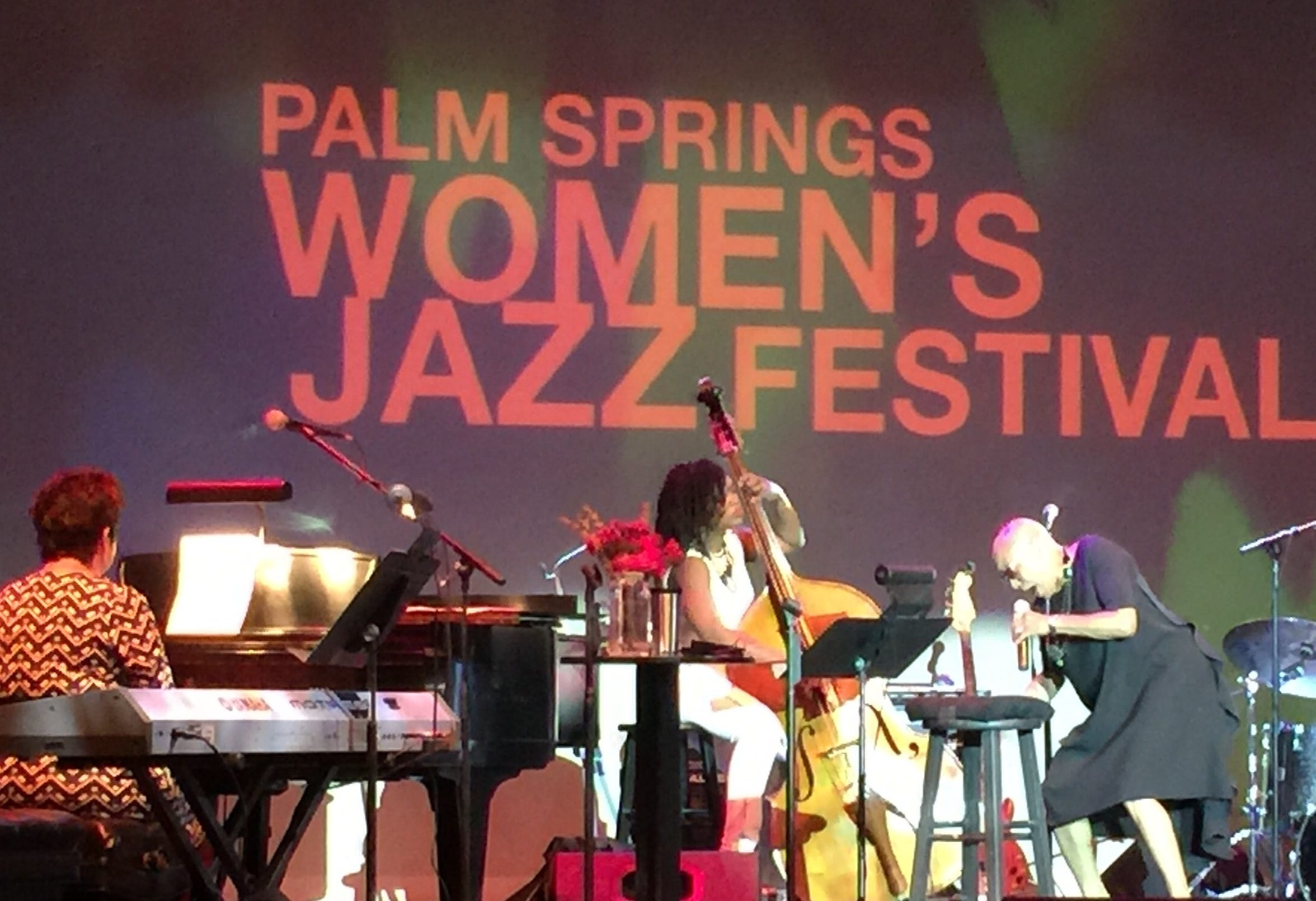 Dee Dee Bridgewater, right, Karen Hammack, left, and bassist Mimi Jones perform Saturday at the Palm Springs Women's Jazz Festival at the Annenberg Theater.