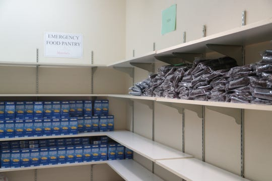 Macaroni and beans remain on the shelves of the emergency pantry at Martha's Village, Indio, Calif., Thursday, August 30, 2018.  Their pantry supplies have become so low they have had to turn people away, especially homeless who can not cook the remaining food items.