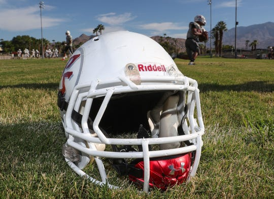 A helmet from Palm Springs High School during practice, August 29, 2018.