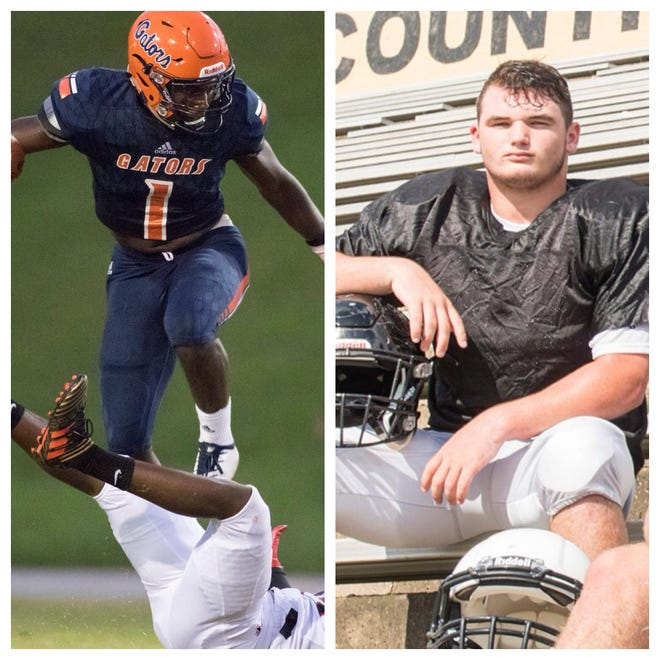 PNJ Offensive Player of the Week Frank Peasant, Escambia (left) and PNJ Defensive/Special teams Player of the Week Trevor Lunsford, Milton (right).