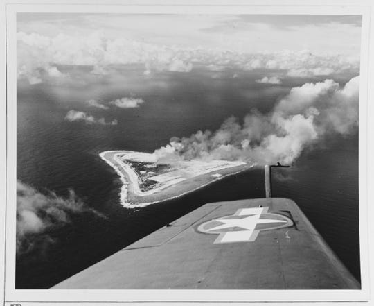 The operation against Marcus Island in World War II debuted the F6F Hellcat, the latest fighter produced by Grumman Aircraft Engineering Corporation.
