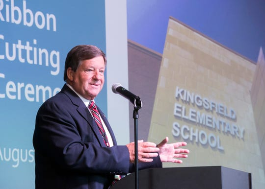 Escambia County Schools Superintendent Malcolm Thomas speaks to the students, faculty, staff and other guests to the grand opening and ribbon cutting of the new Kingsfield Elementary School on Thursday, Aug. 30, 2018.