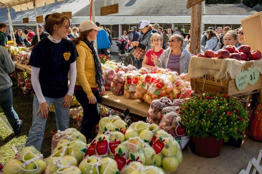 Bags of apples wait to be sold at the Upper Adams Jaycees apple sale tent at the National Apple Harvest Festival at South Mountain Fairgrounds near Arendtsville on Saturday, Oct. 4, 2014.