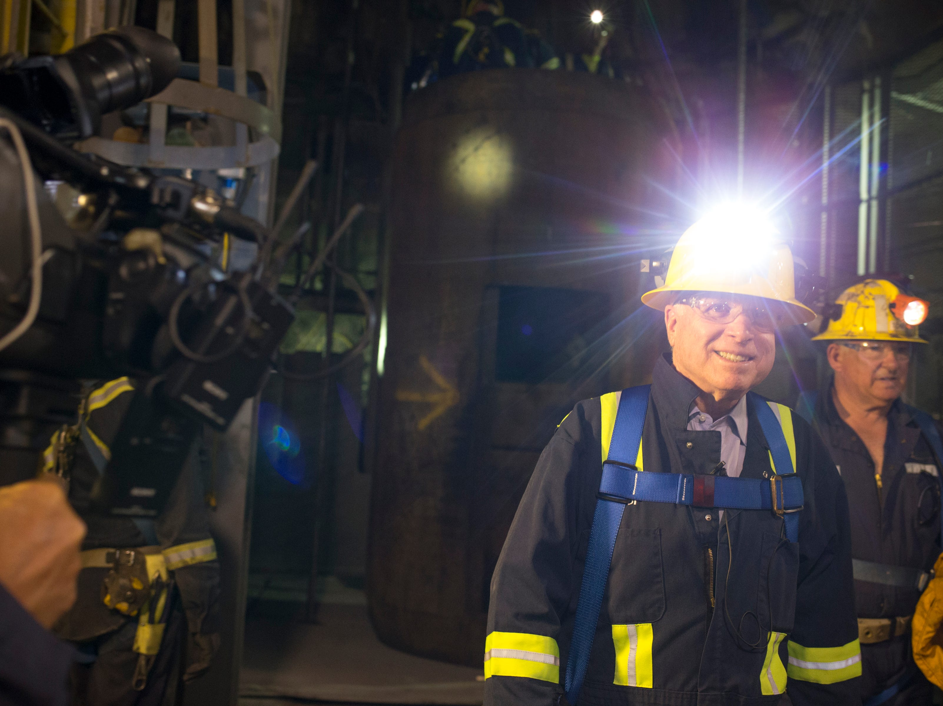"Sen. John McCain tours on Oct. 7, 2014, the ""never sweat tunnel,"" 1,200 feet below the surface in the East Plant at Superior's Resolution Copper."