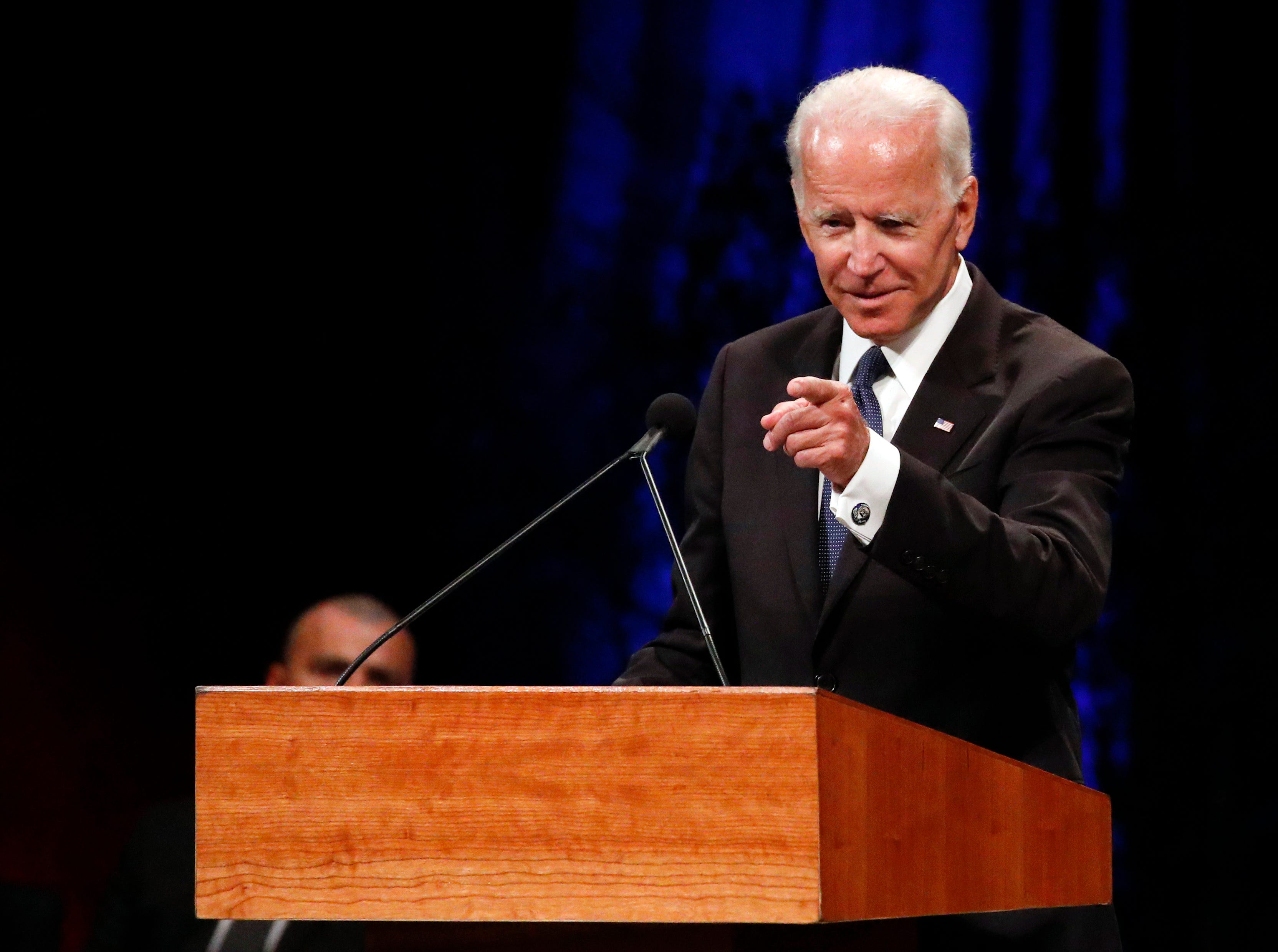Former Vice President Joe Biden gives a tribute during memorial service at North Phoenix Baptist Church for Sen. John McCain, R-Ariz., Aug. 30, 2018, in Phoenix.