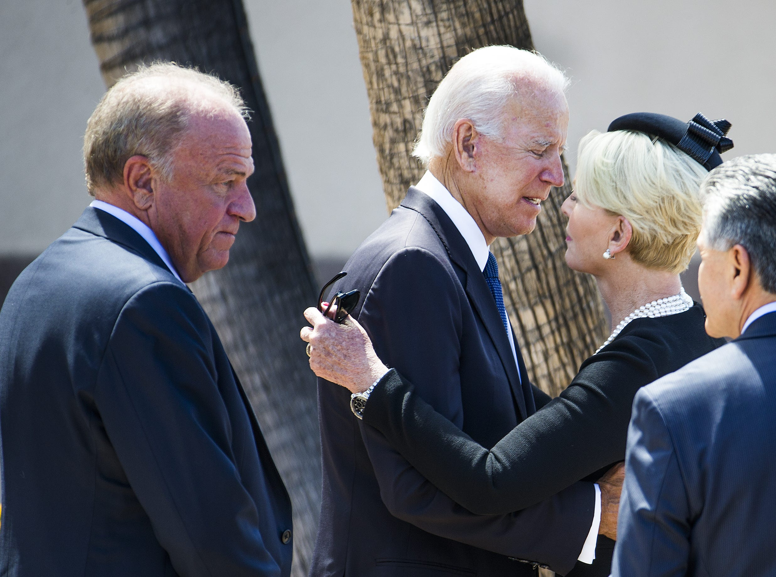 Former Vice President Joe Biden says goodbye to Cindy McCain after a memorial service for Sen. John McCain at North Phoenix Baptist Church in Phoenix on Aug. 30, 2018.