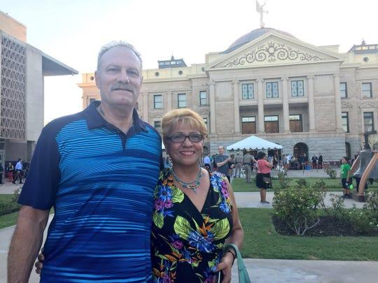 Rachel and Jeffrey Craig, from Goodyear, said Sen. John McCain helped  them when Jeffrey was injured in Iraq.