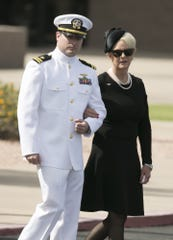 Jack McCain and his mother, Cindy McCain, the wife of Senator John McCain arrive for a memorial service for Senator McCain at North Phoenix Baptist Church in Phoenix on Aug. 30, 2018.