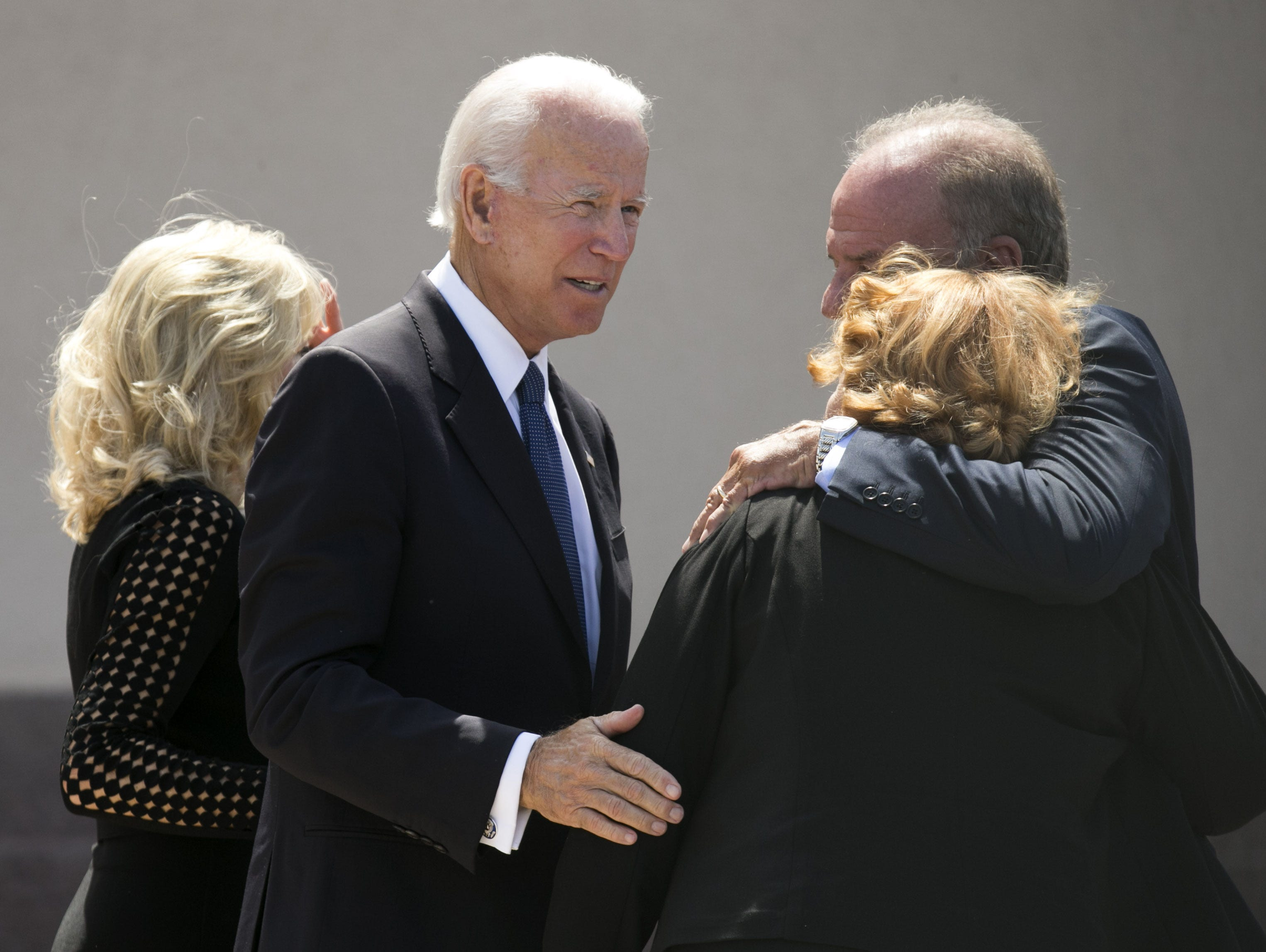 Former Vice President Joe Biden, looks on following a memorial service for Senator John McCain at North Phoenix Baptist Church in Phoenix, Aug. 30, 2018.