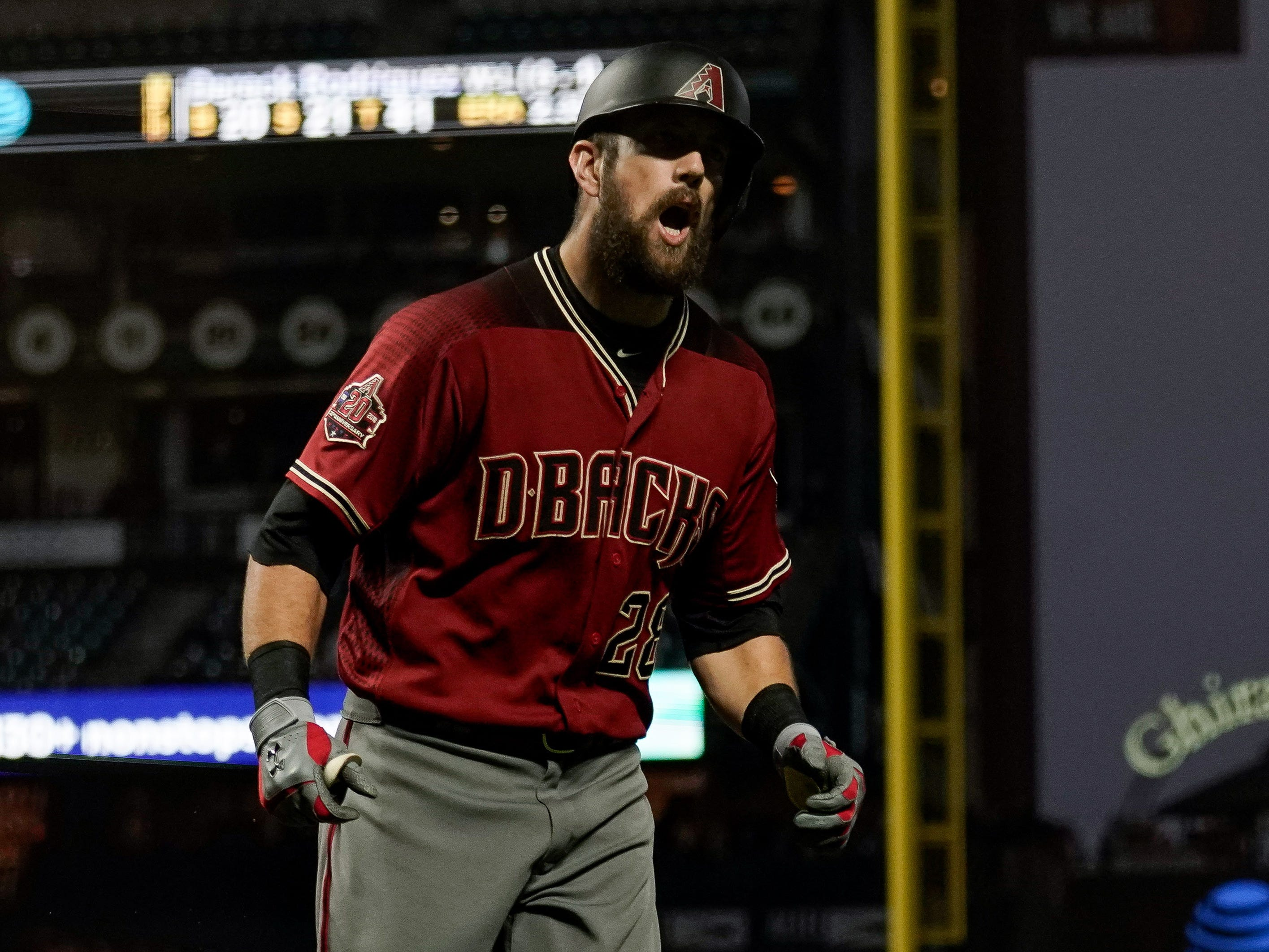 Aug 29, 2018; San Francisco, CA, USA; Arizona Diamondbacks right fielder Steven Souza Jr. (28) reacts after hitting a solo home run against the San Francisco Giants during the third inning at AT&T Park.