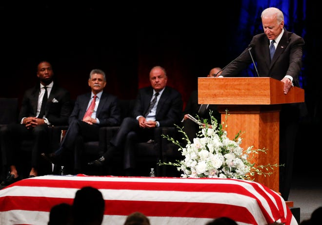 Former Vice President Joe Biden gives a tribute during memorial service at North Phoenix Baptist Church for Sen. John McCain, R-Ariz,.  Aug. 30, 2018, in Phoenix.