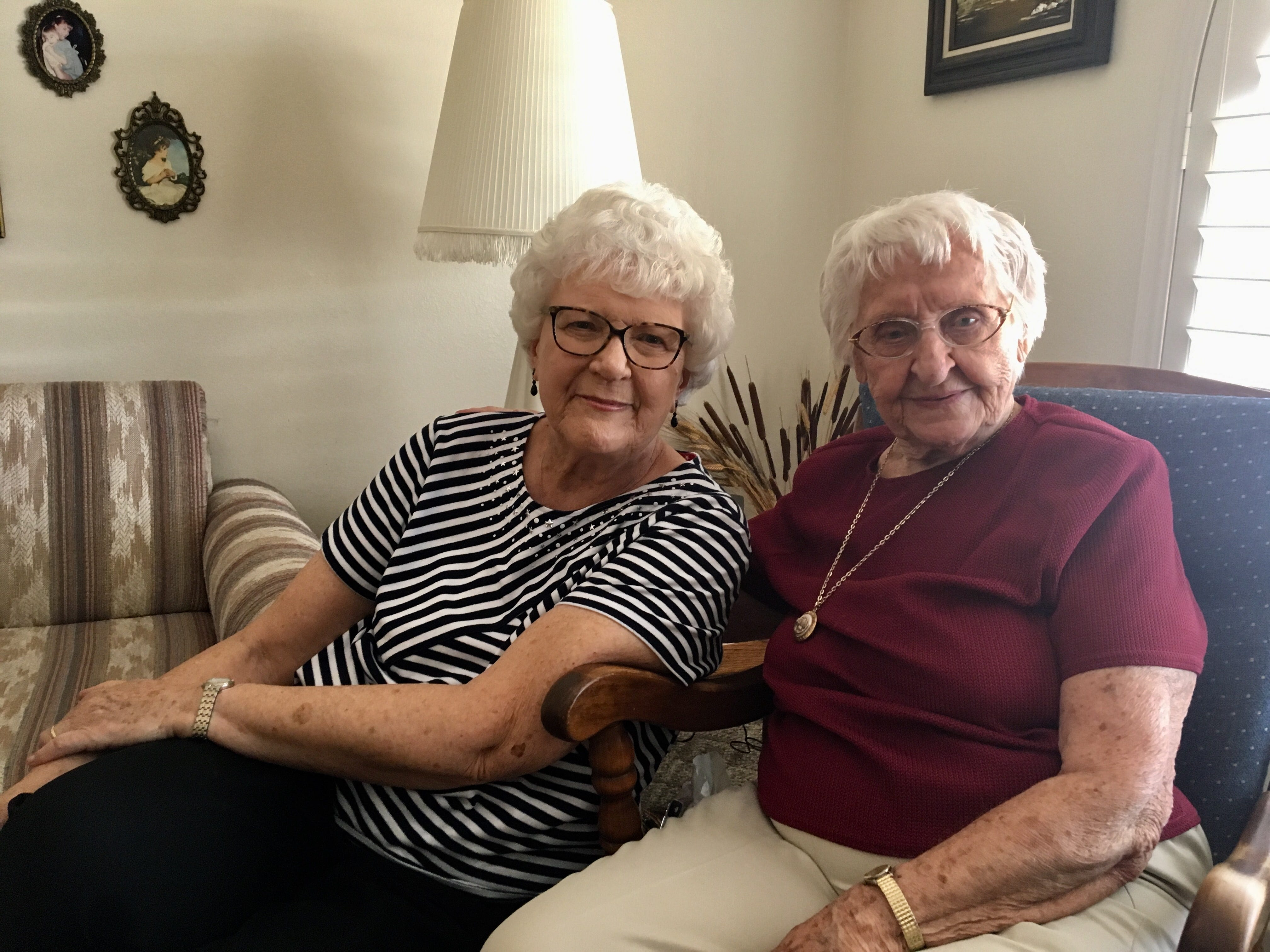 Edith Lively (right), who turned 100 this month, with her friend Joyce Huettner.