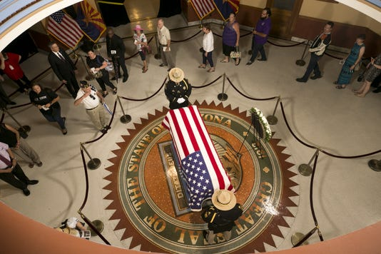 John Mccain Memorial Service At Arizona State Capital