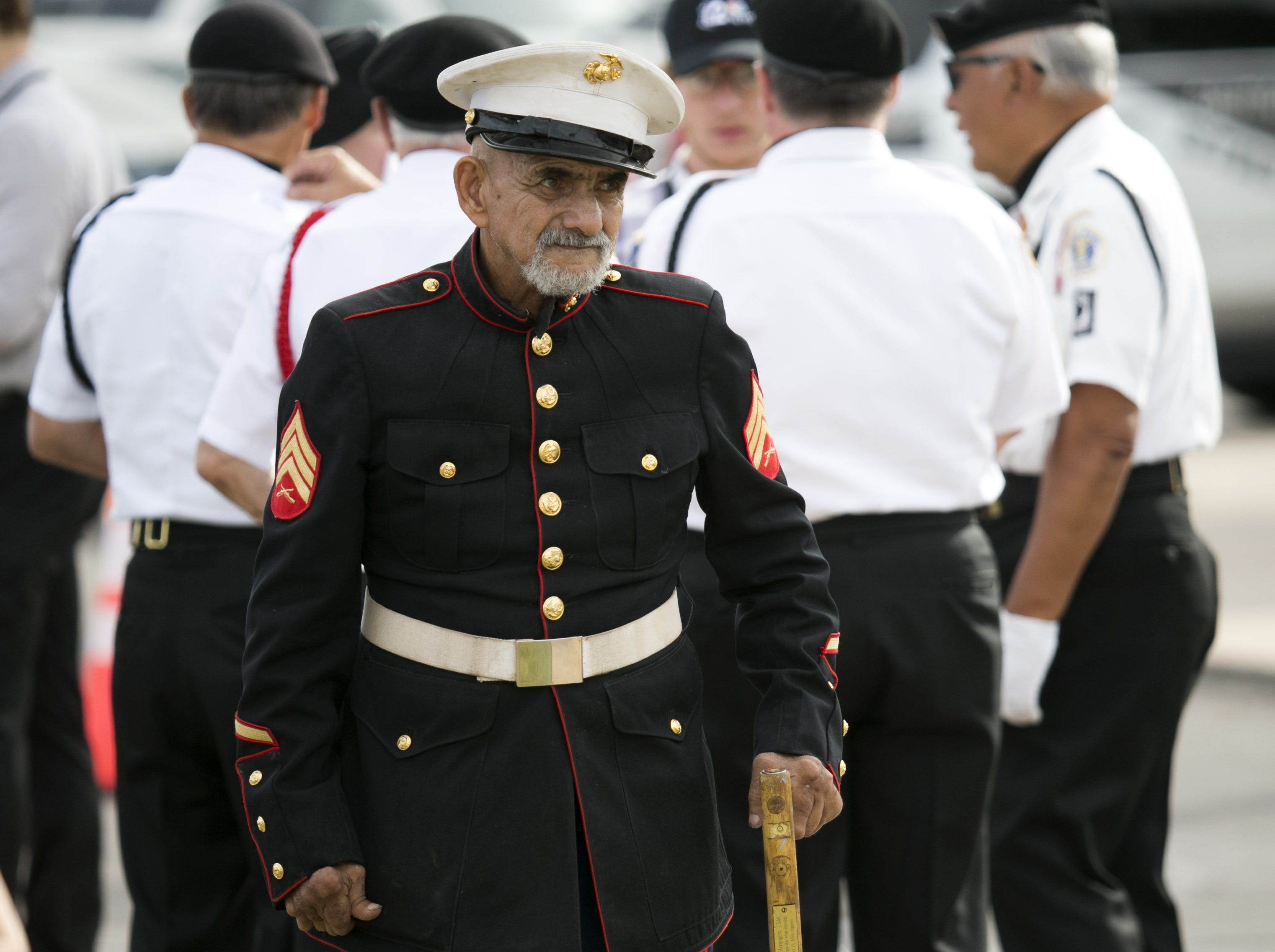 Tony Darcangelo of Phoenix, and a Marine Corps veteran of the Korean War, looks on outside North Phoenix Baptist Church before the memorial service for Senator John McCain in Phoenix on Aug. 30, 2018.