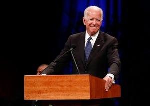 Former Vice President Joe Biden gives a tribute during memorial service at North Phoenix Baptist Church for Sen. John McCain, R-Ariz.,  Aug. 30, 2018, in Phoenix.