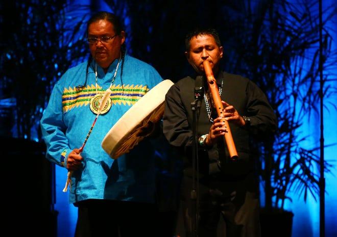 Navajo flutist Jonah Littlesunday performs Aug. 30, 2018, during a memorial service for U.S. Sen. John McCain at North Phoenix Baptist Church in Phoenix.
