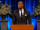 Larry Fitzgerald speaks at a memorial service for John McCain on Aug. 30, 2018.