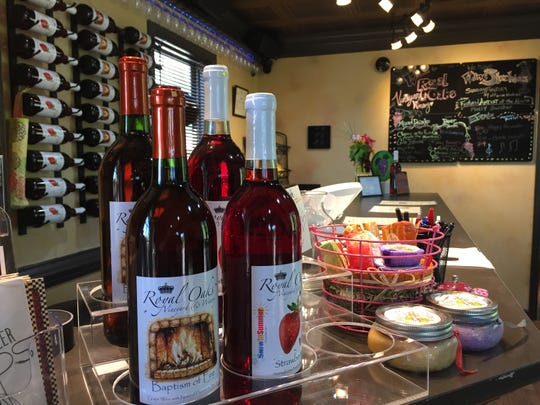 A few of the wines sold at Royal Oaks Vineyard & Winery located at 399 Royal Road, Aug. 29, 2018. The winery has remained open despite an ongoing legal battle over zoning issues between Bill Hartmann, the winery's owner, and North Cornwall Township.