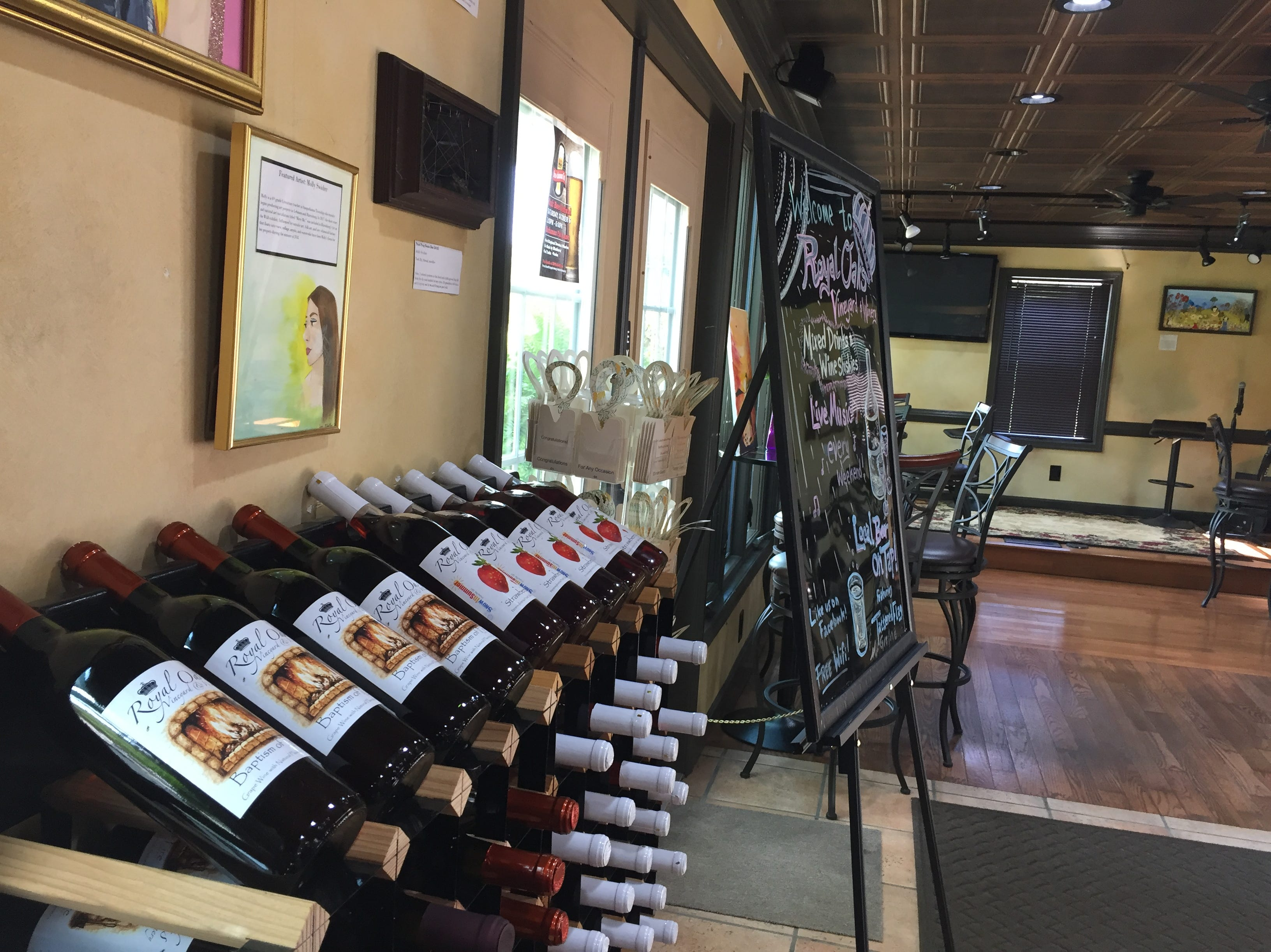 Inside the tasting room at Royal Oaks Vineyard & Winery located at 399 Royal Road, Aug. 29, 2018. The winery has remained open despite an ongoing legal battle over zoning issues between Bill Hartmann, the winery's owner, and North Cornwall Township.