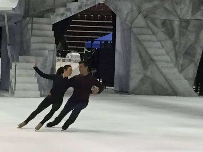 Robin Johnstone and Andy Buchanan, husband and wife formerly from Hershey, rehearse for Cirque Du Soleil.