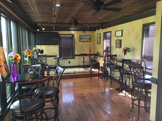 The stage for live acoustic music inside the tasting room at Royal Oaks Vineyard & Winery located at 399 Royal Road, Aug. 29, 2018. The winery has remained open despite an ongoing legal battle over zoning issues between Bill Hartmann, the winery's owner, and North Cornwall Township.