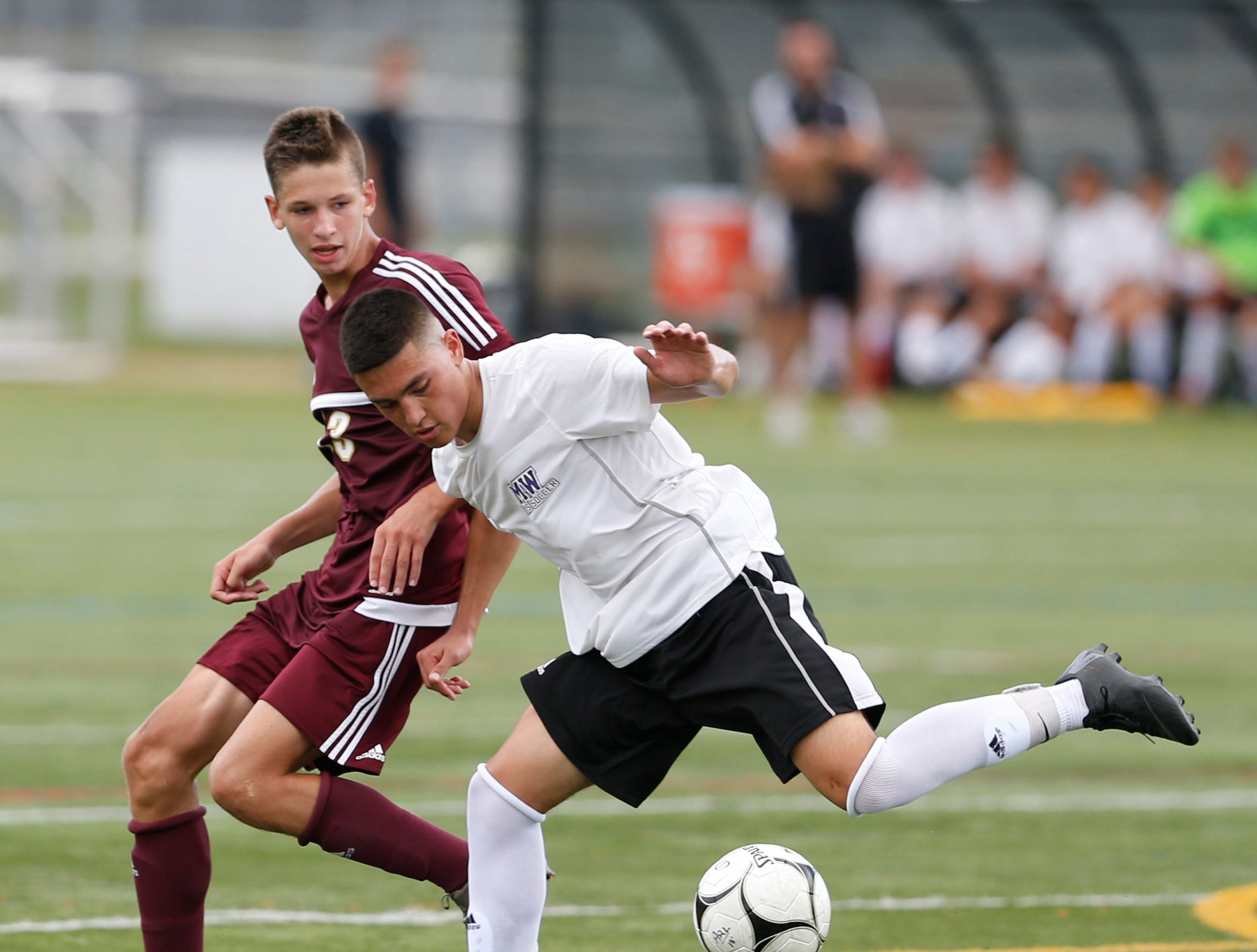 Action from Thursday's boys soccer game between Arlington and Monroe Woodbury in Freedom Plains on August 30, 2018.