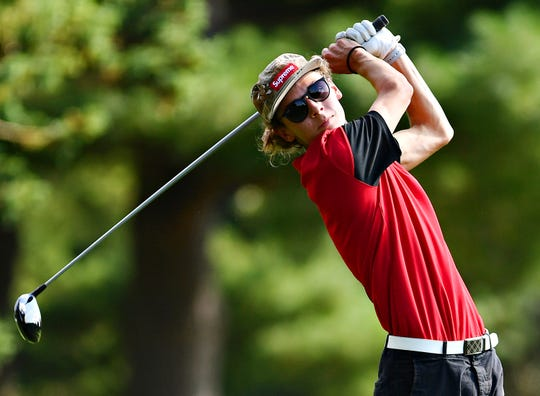 Susquehannock's Spencer Beran tees off on the first hole during York-Adams League Division II golf action at Bon Air Golf Course in Shrewsbury Township, Thursday, Aug. 30, 2018. Dawn J. Sagert photo