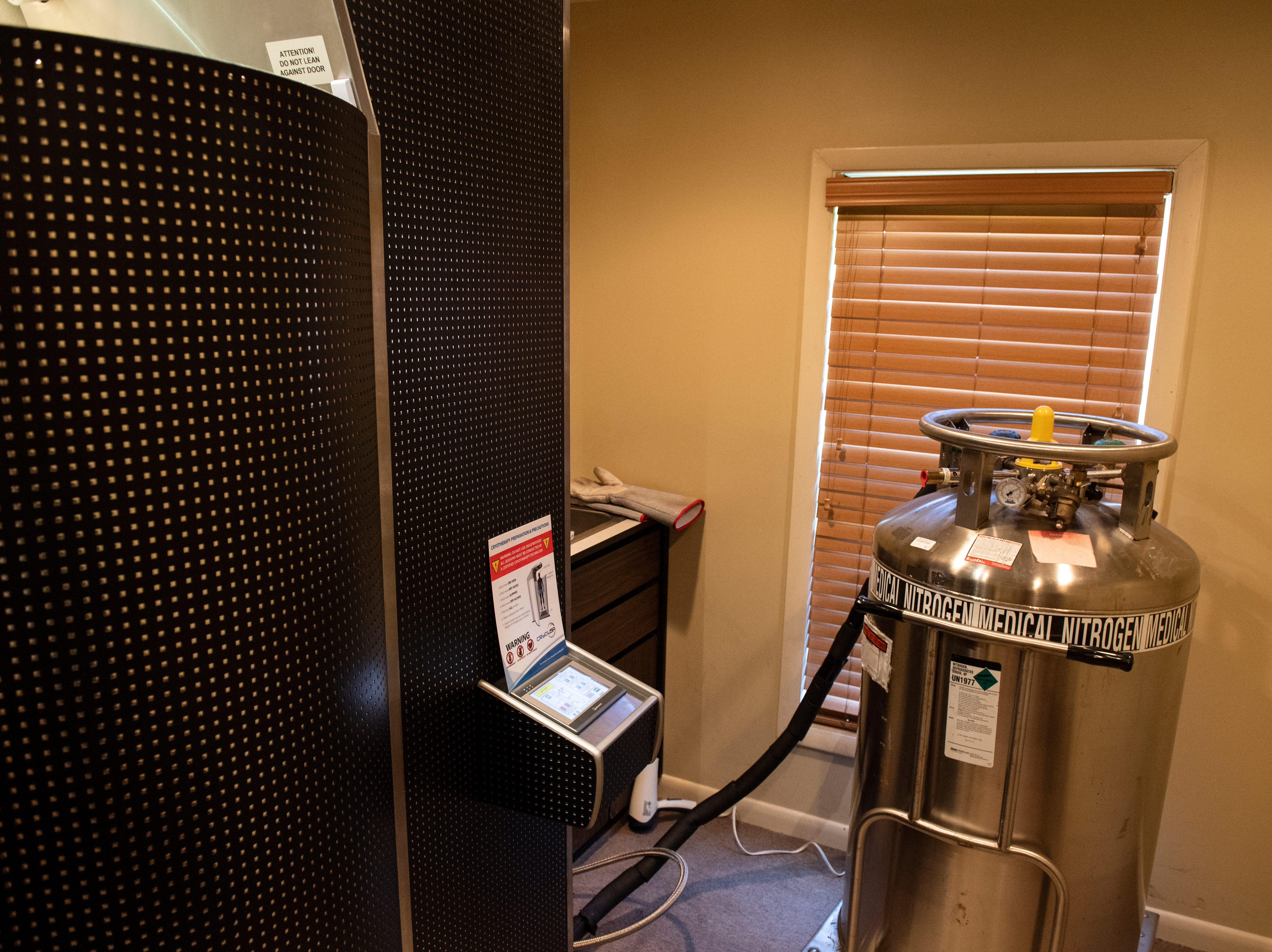 The York Medical Spa uses medical grade nitrogen gas in their cryotherapy chamber, Tuesday, Aug. 27, 2018. Cryotherapy is a treatment using liquid nitrogen gas in an enclosed chamber to surround a patientÕs body with freezing temperatures.