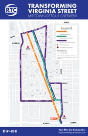 Detours and lane closure info for the Midtown Reno RTC project.