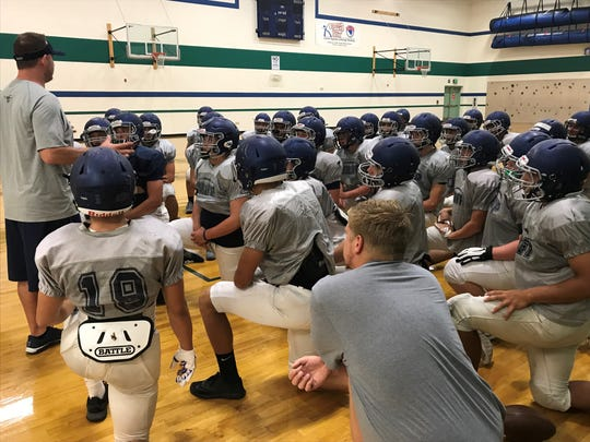 Damonte Ranch football players at practice earlier this month.