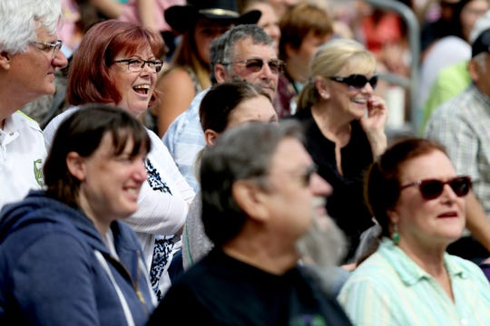 The crowd watches the X-Treme Air Dogs Open Dock Diving Competition at the Oregon State Fair in Salem on Thursday, Aug. 30, 2018.