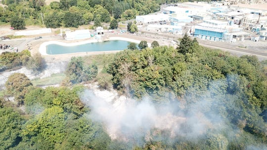 Aerial view of a fire in an industrial lot in Albany.