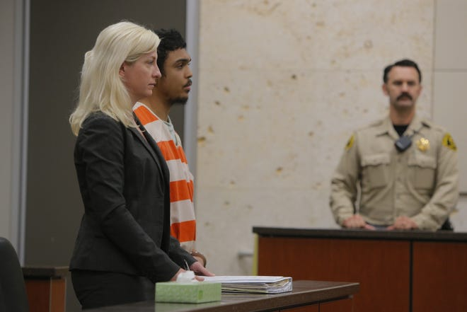 Devonte Marquis Sirwet, 22, appears at his preliminary hearing Thursday morning on charges he stole and burned alive his mother's pit bull, Kato.