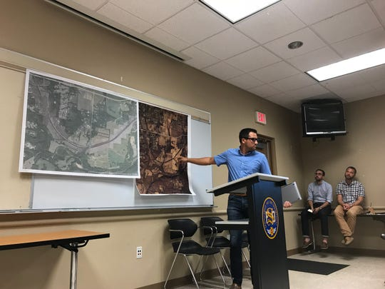 """Cody Danastasio tells a group of Greene County residents that he believes a planned BNSF construction project shows """"a blatant disregard for the overall health of our community"""" on Aug. 28, 2018."""