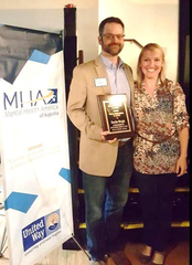 Dustin Wright and April Dovel at the Mental Health of America of Augusta's awards banquet on May 18, 2018.  Wright received the J. Lewis Gibbs Distinguished Service Award.