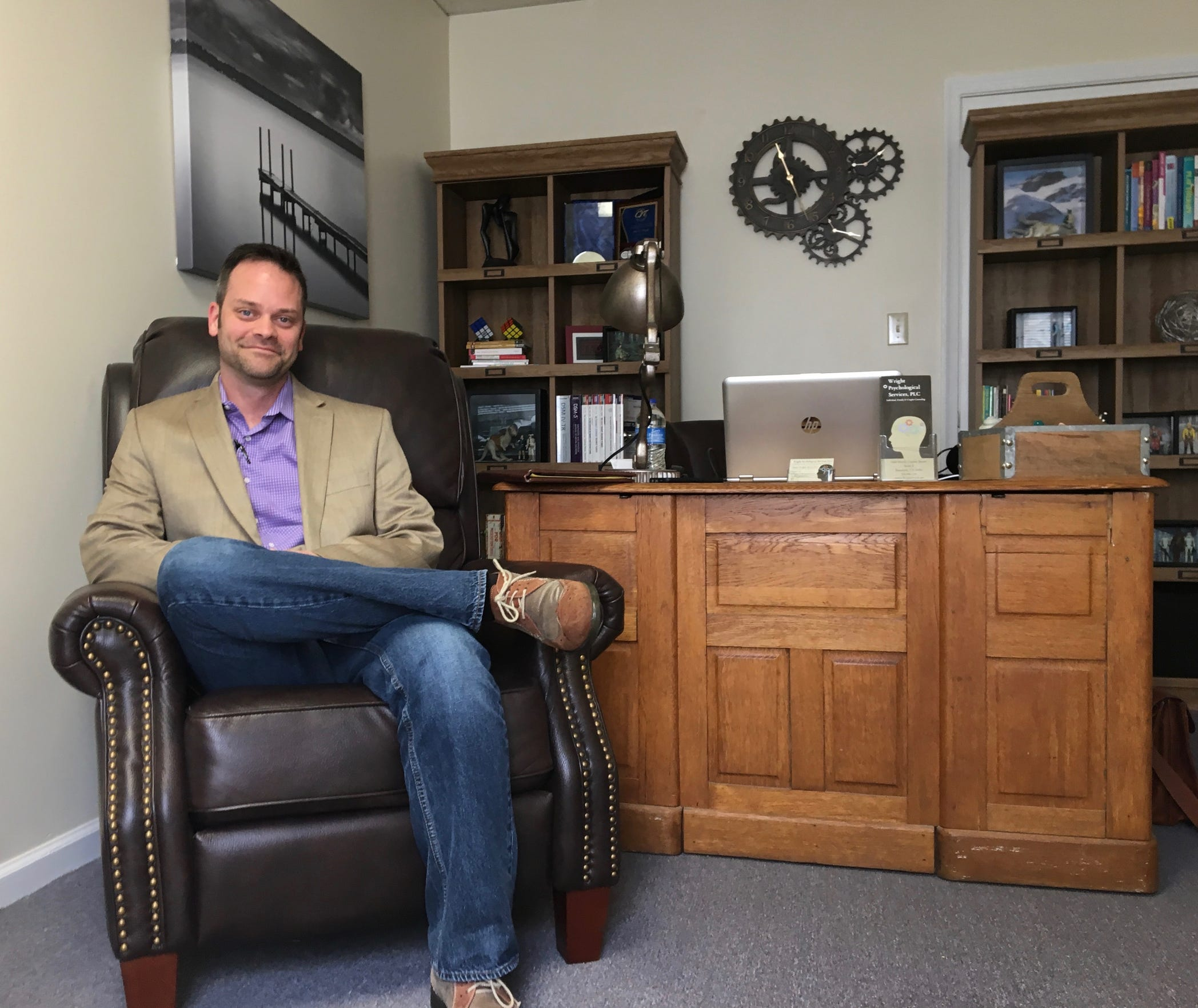 Photographed in his office at Wright Psychological Services on Tuesday, Aug. 28, 2018, Dustin Wright is a licensed professional counselor in Staunton. In 2018, he was awarded CIT International Behavioral Healthcare Professional of the Year and the Mental Health of America of Augusta's J. Lewis Gibbs Distinguished Service Award.