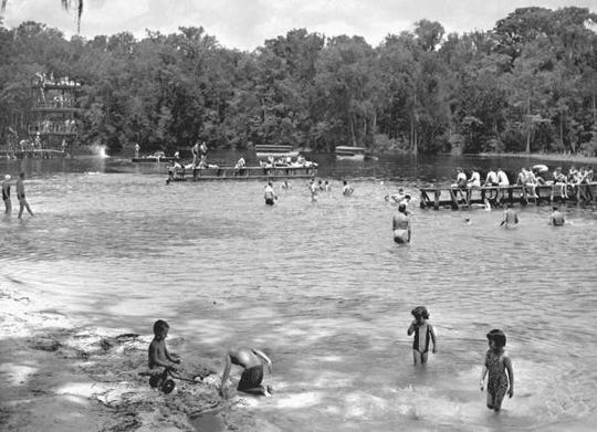 Floridians enjoying a break from the heat in the 1940s at Wakulla Springs. Today, hydrilla infests much of Wakulla Springs.
