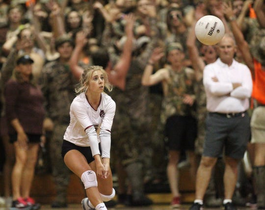 Lincoln's volleyball team plays at Chiles on Wednesday, Aug. 29, 2018, in a packed atmosphere. The host Timberwolves swept the Trojans.