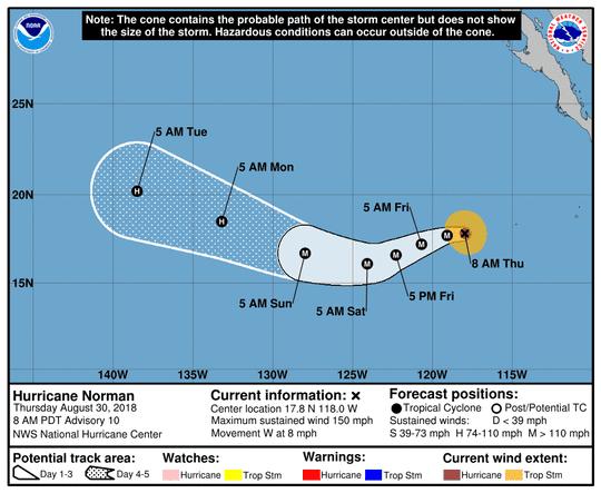 Hurricane Norman 11 a.m. Aug. 30, 2018