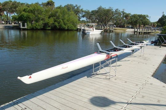 """Vero Beach Rowing received a $22,000 Merit Award from Indian River Impact 100 this year to help pay for the new """"Friends"""" rowing shell, which also will be used by members of Friends After Diagnosis."""