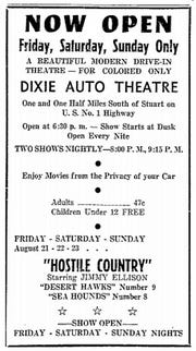 Advertisement for the Dixie Drive-In Theatre on Aug. 16, 1953.
