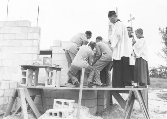 The foundation and cornerstone laid for the new church of St. Mary's Episcopal Church on Hospital Avenue.
