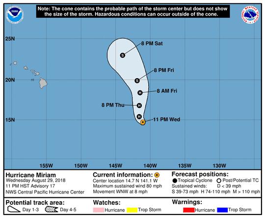 Hurricane Miriam 5 a.m. Aug. 30, 2018