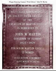 Dedication plaque in November 1950 for former Governor John Martin.