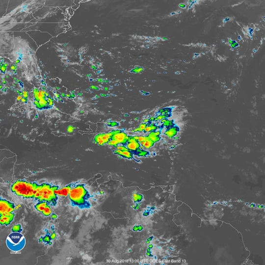 Tropical wave impacting Puerto Rico 10 a.m. Aug. 30, 2018.