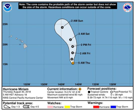 Hurricane Miriam 11a.m. Aug. 30, 2018